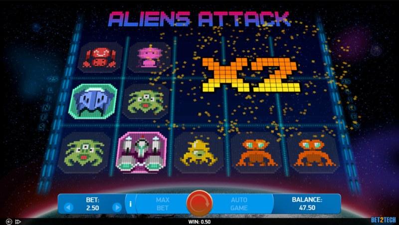 Alien Attack :: Bomb symbol feature activated