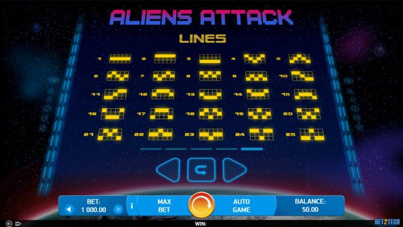 Alien Attack :: Paylines 1-25