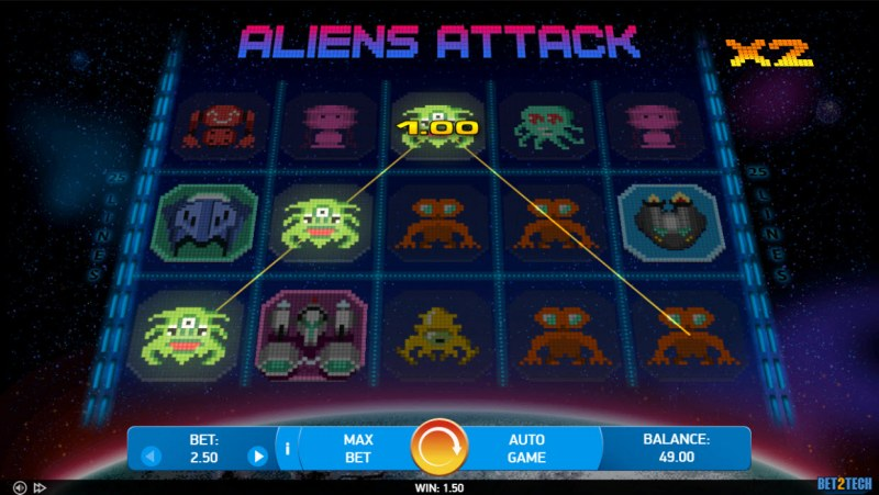 Alien Attack :: A three of a kind win