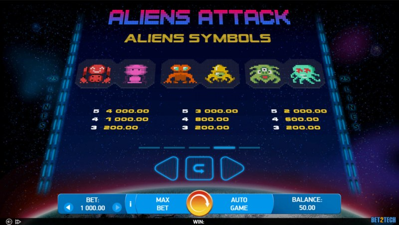 Alien Attack :: Paytable - Low Value Symbols