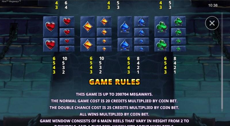 Alive! Megaways :: Paytable - Low Value Symbols