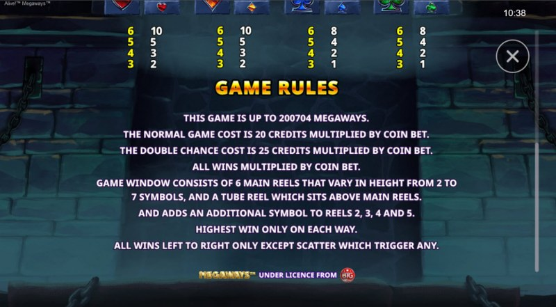 Alive! Megaways :: Up to 200704 Ways to Win
