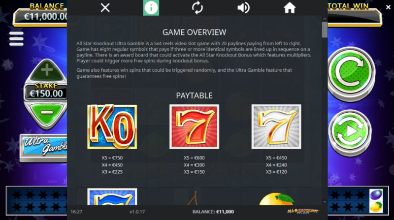 All Star Knockout Ultra Gamble :: Paytable - High Value Symbols