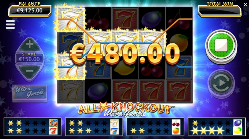 All Star Knockout Ultra Gamble :: Four of a kind Win