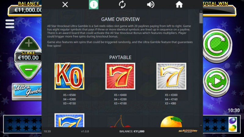 All Star Knockout :: Paytable - High Value Symbols