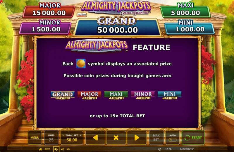 Almighty Jackpots Garden of Persephone :: Jackpot Rules