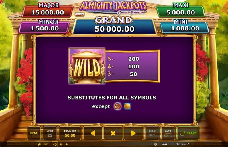 Almighty Jackpots Garden of Persephone :: Wild Symbol Rules