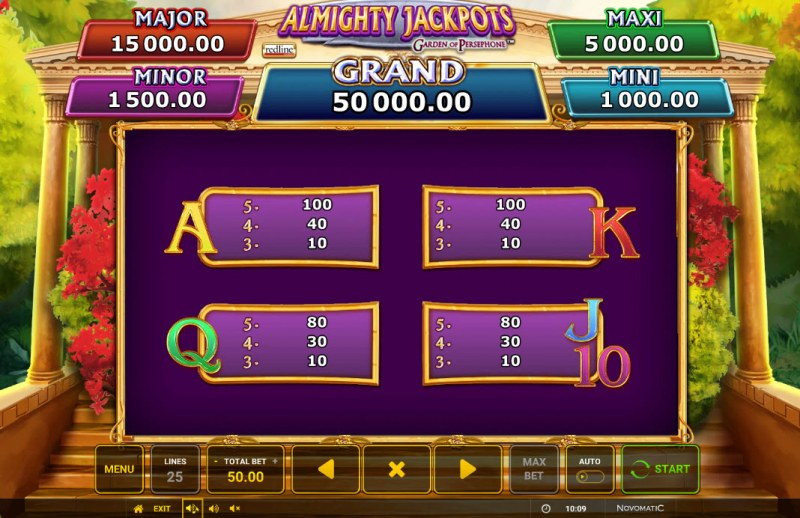 Almighty Jackpots Garden of Persephone :: Paytable - Low Value Symbols