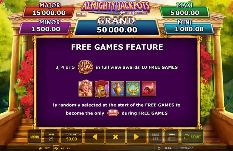 Almighty Jackpots Garden of Persephone :: Free Games Feature