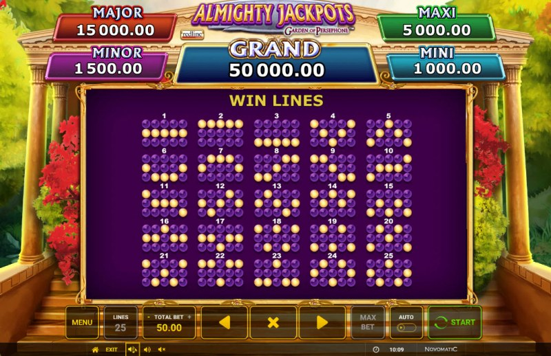 Almighty Jackpots Garden of Persephone :: Paylines 1-25