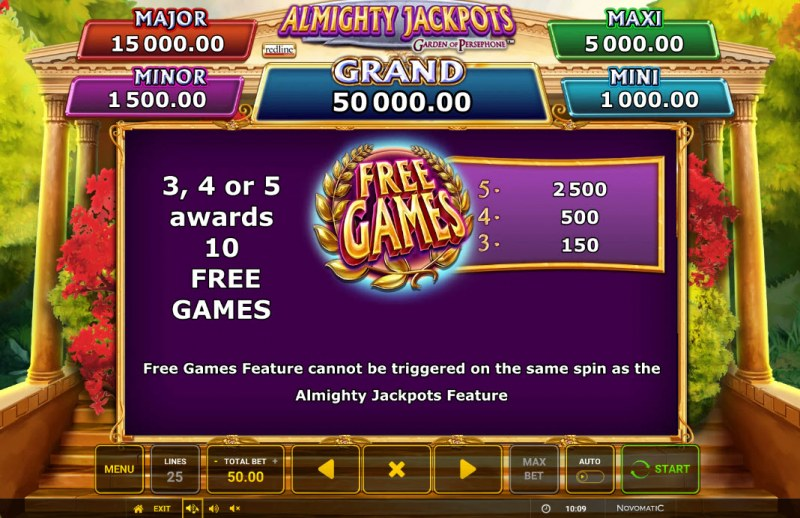 Almighty Jackpots Garden of Persephone :: Free Spin Feature Rules