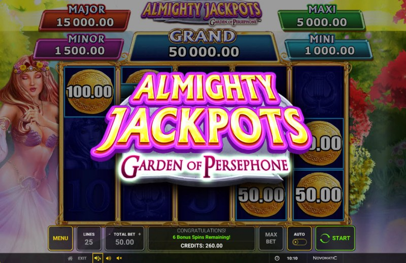 Almighty Jackpots Garden of Persephone :: Scatter symbol triggers the bonus feature