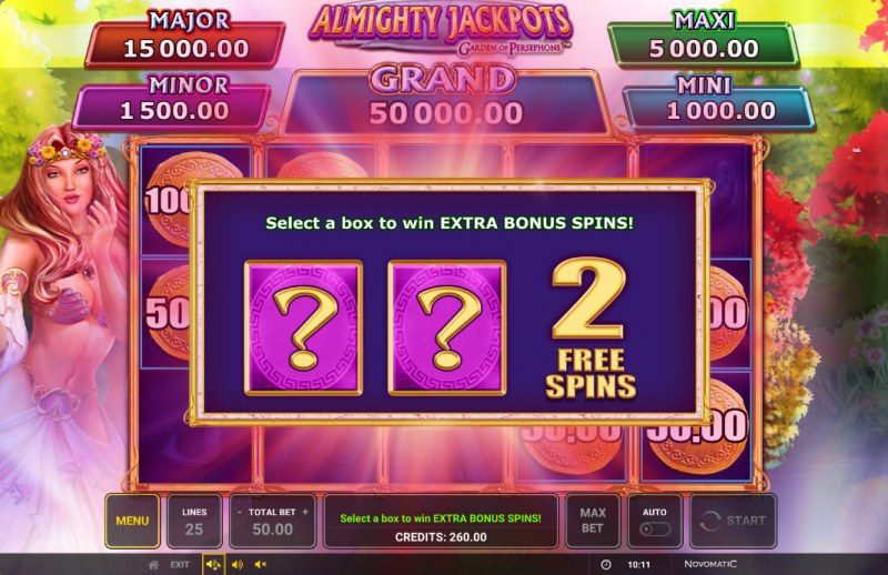 Almighty Jackpots Garden of Persephone :: 2 additional spins awarded