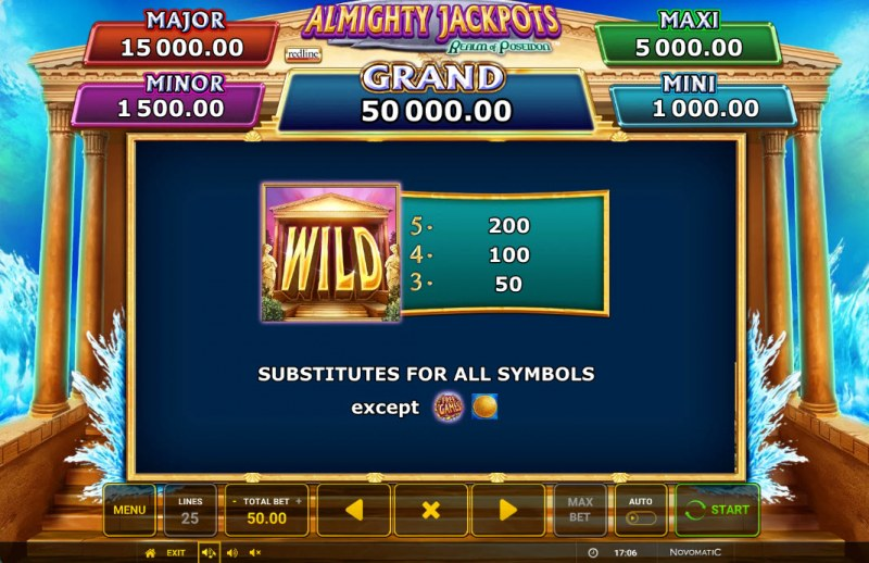 Almighty Jackpots Realm of Poseidon :: Wild Symbol Rules
