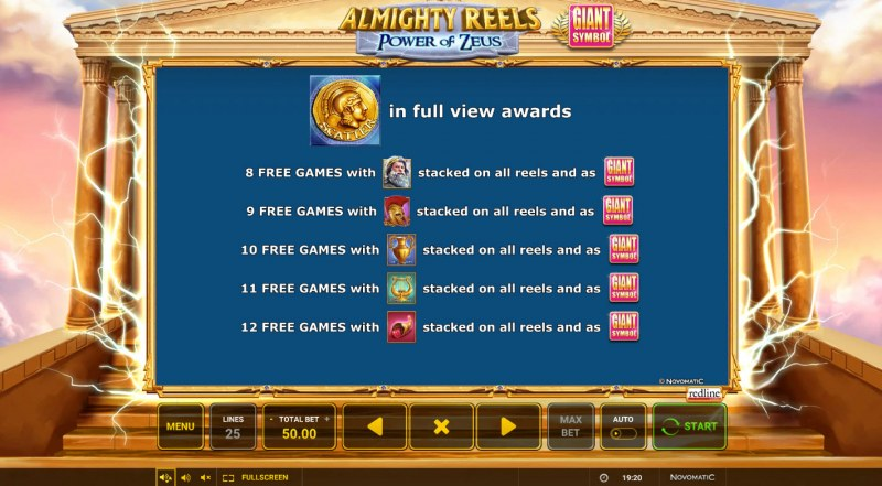 Almighty Reels Power of Zeus :: Free Spin Feature Rules
