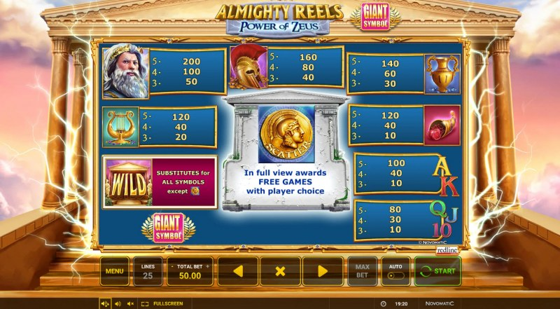 Almighty Reels Power of Zeus :: Paytable
