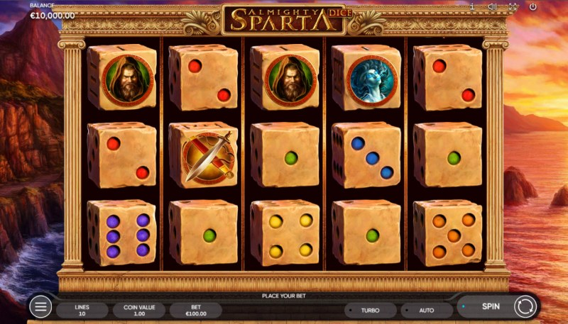 Almighty Sparta Dice :: Base Game Screen