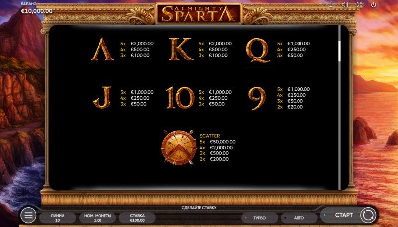 Almighty Sparta :: Paytable - Low Value Symbols