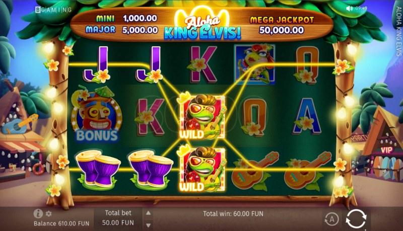 Aloha King Elvis! :: A three of a kind win