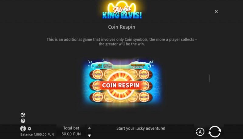 Aloha King Elvis! :: Coin Respin Bonus Feature