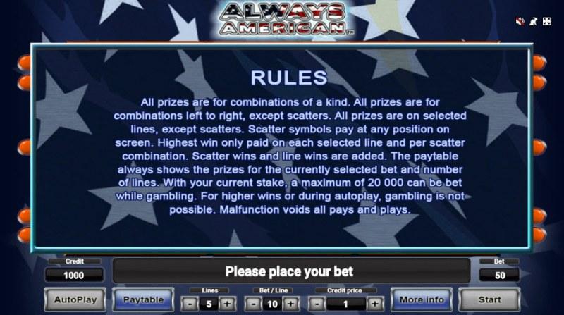 Always American :: General Game Rules