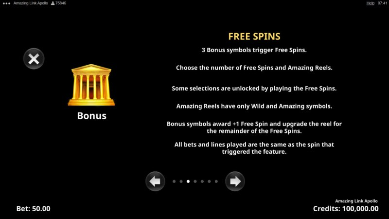 Amazing Link Apollo :: Free Spin Feature Rules