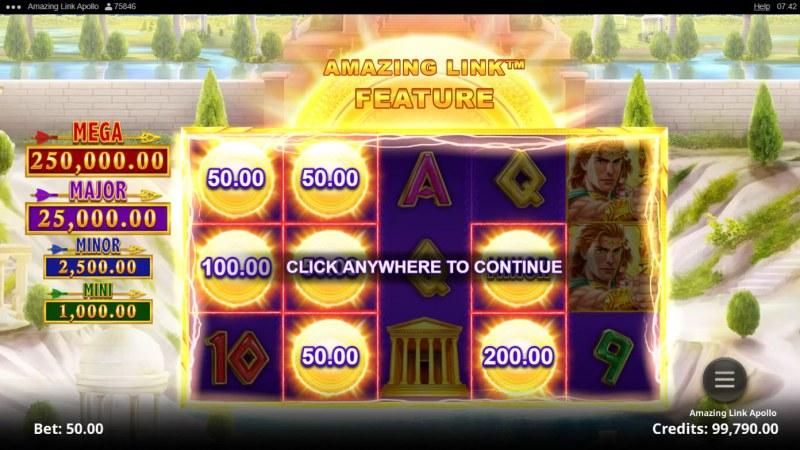 Amazing Link Apollo :: Scatter symbols triggers the Amazing Link bonus feature