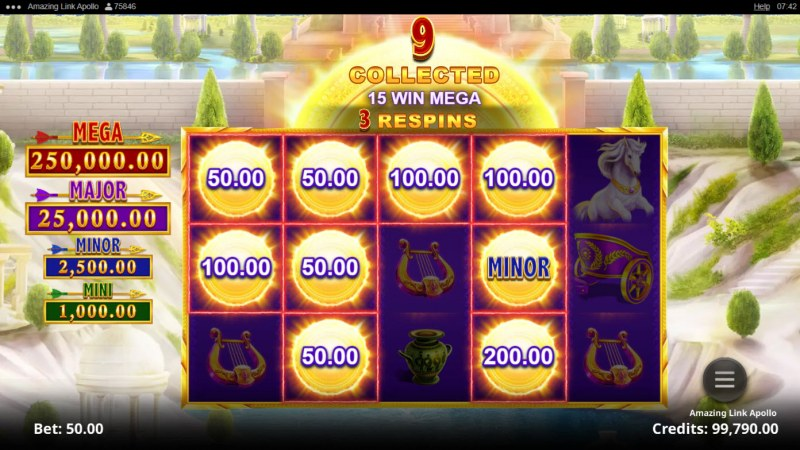 Amazing Link Apollo :: Spin the reels and land as money coin symbols to win big