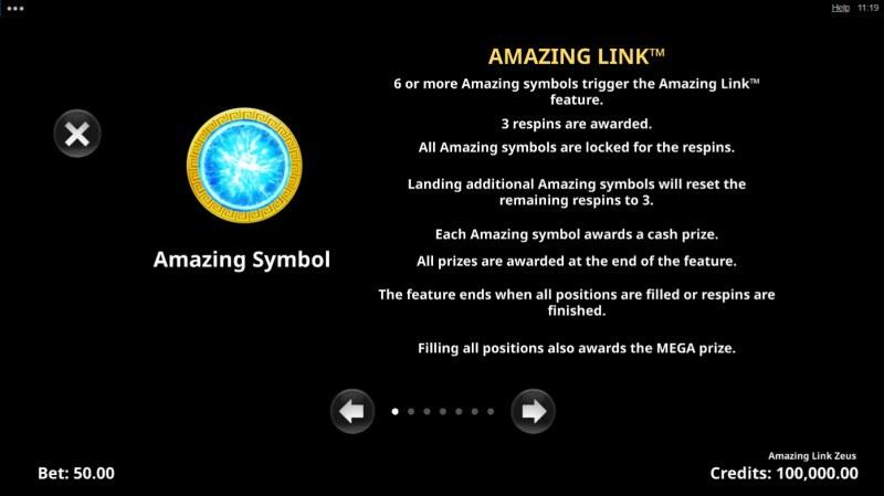 Amazing Link Zeus :: Scatter Symbol Rules