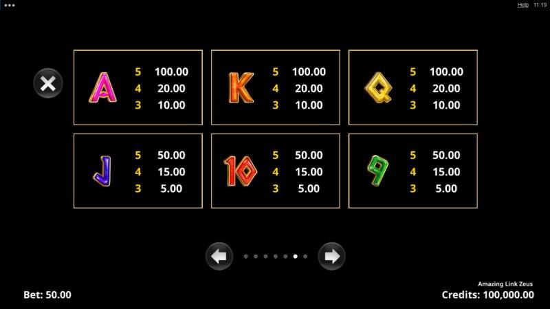 Amazing Link Zeus :: Paytable - Low Value Symbols