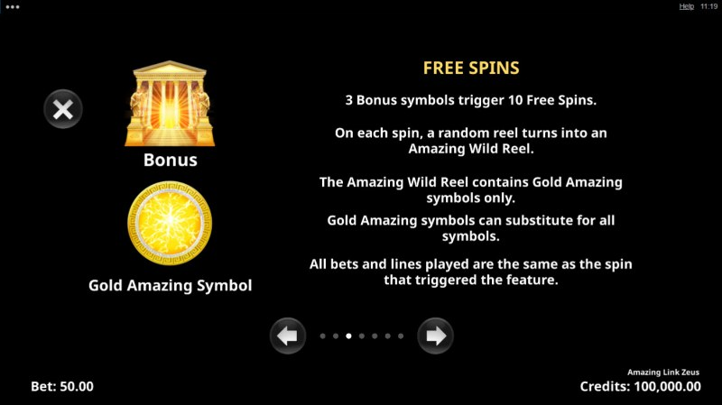 Amazing Link Zeus :: Free Spin Feature Rules