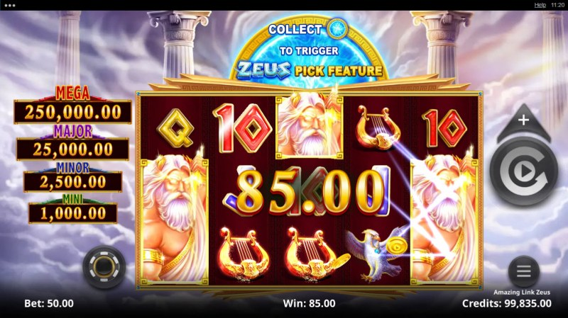 Amazing Link Zeus :: Scatter symbols triggers the free spins bonus feature