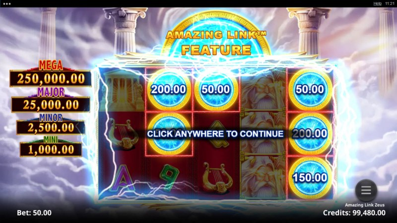 Amazing Link Zeus :: Free Spins Game Board