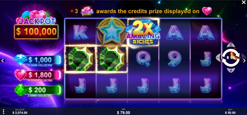 Amazing Riches :: A three of a kind win