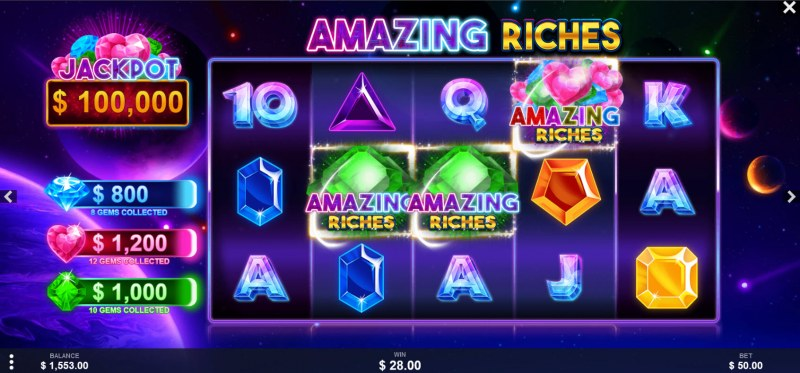 Amazing Riches :: Matching Wilds triggers jackpot win