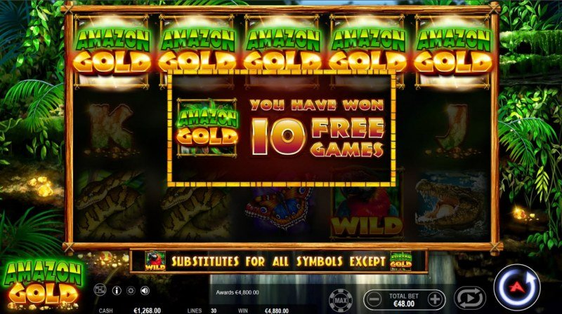 Amazon Gold :: Scatter symbols triggers the free spins bonus feature