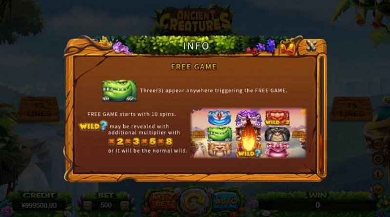 Ancient Creatures :: Free Spins Rules