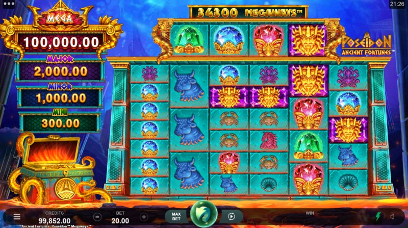 Ancient Fortunes Poseidon Megaways :: Base Game Screen