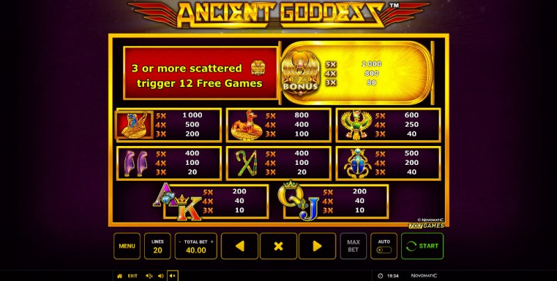 Ancient Goddess :: Paytable