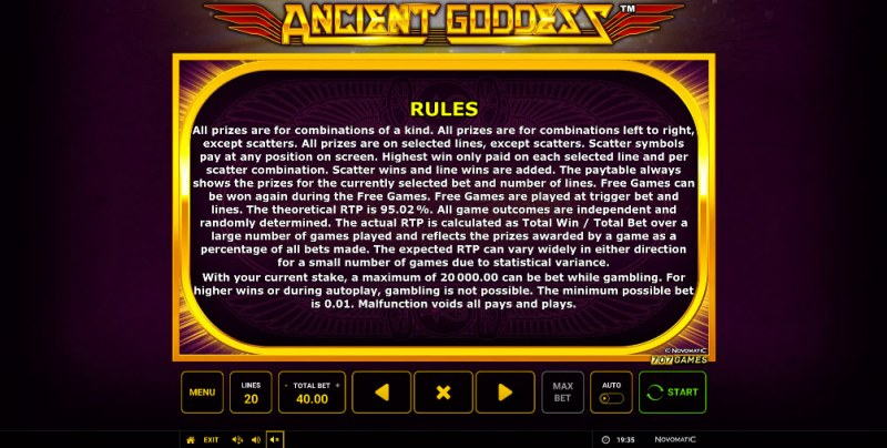 Ancient Goddess :: General Game Rules