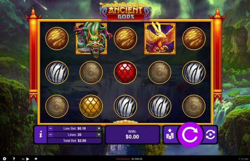 Play slots at Dreams: Dreams featuring the Video Slots Ancient Gods with a maximum payout of $250,000