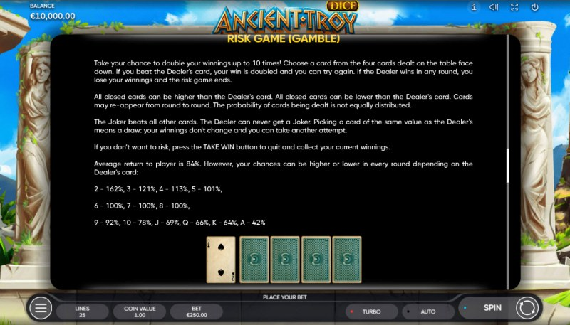 Ancient Troy Dice :: Gamble feature