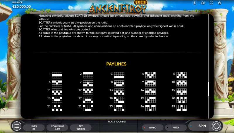 Ancient Troy Dice :: Paylines 1-25