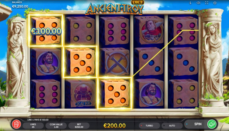 Ancient Troy Dice :: A three of a kind win