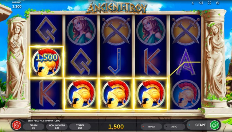 Ancient Troy :: A four of a kind win