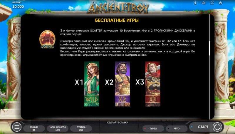 Ancient Troy :: Free Spin Feature Rules