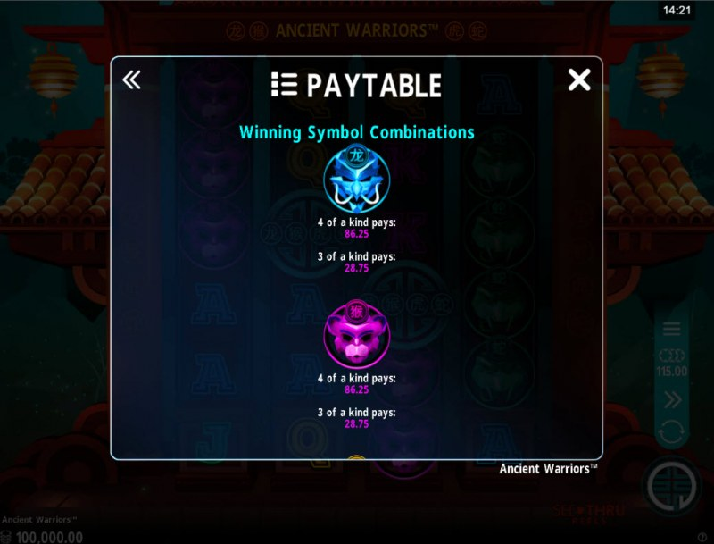 Ancient Warriors :: Paytable - High Value Symbols