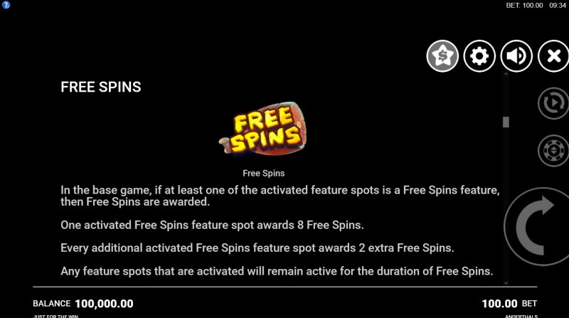 Anderthals :: Free Spins Rules
