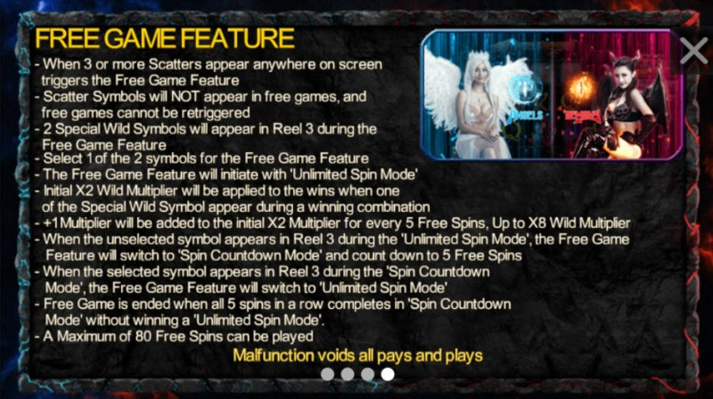 Angels & Demons :: Free Spins Rules