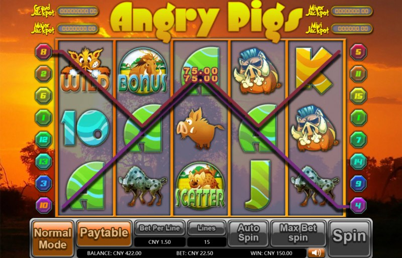 Angry Pigs :: A pair of winning paylines